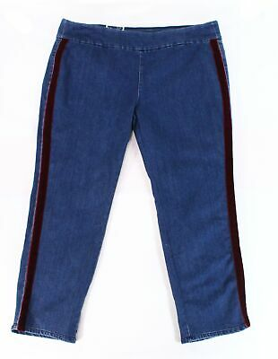 Charter Club Women's Blue Size 18W Plus Stretch Striped Pull On Jeans $74 #313