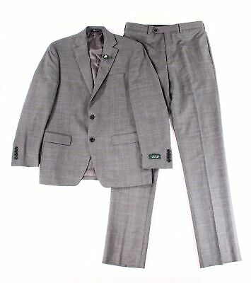 LAUREN BY RALPH LAUREN Mens Gray Size 44 Plaid Two Button Wool Suit $600 #047