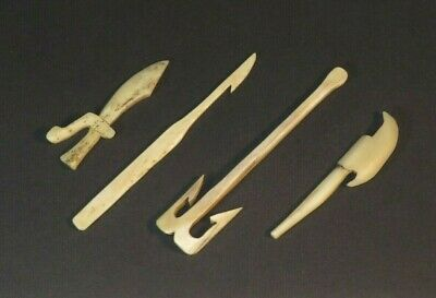 Nice 19Th Century Sailor Made Set Of Four Charms Gaff, Harpoon, Axe, Etc