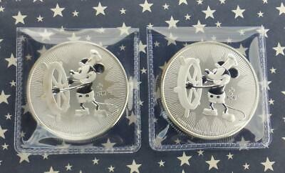 2 2017 Mickey Mouse Niue $2 1 oz .999 Fine Silver Disney Coins, Steamboat Willie