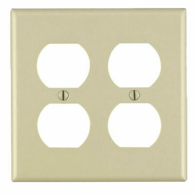 Leviton 001-86016 2-Gang Duplex Outlet Wall Plate in Ivory, Case of 25