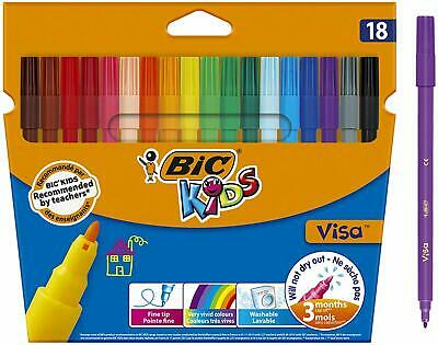 Kids Visa Feutres de Coloriage à Pointe Fine - Couleurs Assorties, Etui Carton