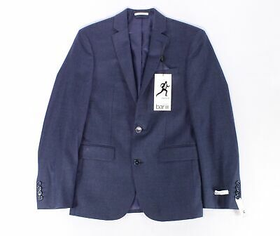 Bar III Mens Suit Blue Size 36 Two Button Wool Flannel Slim Fit $165 #306