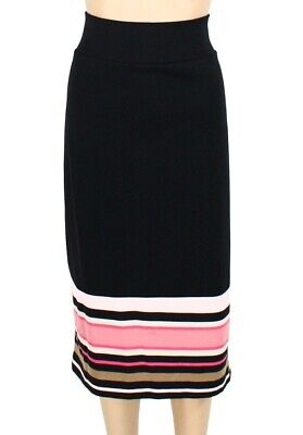 Alfani Womens Skirt Black Pink Size 22W Plus Striped Stretch Straight $69 253