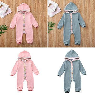 Newborn Baby Boy Girls Kids Outdoor Clothes Hooded Romper Jumpsuit Outfits Set
