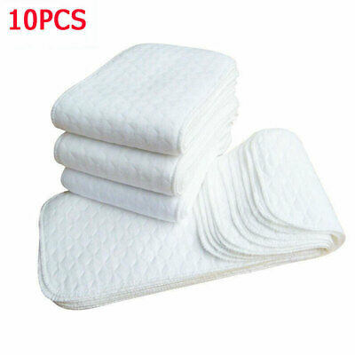 10Pcs Reusable Washable Inserts Boosters Liners For Real Pocket Cloth Nappy US