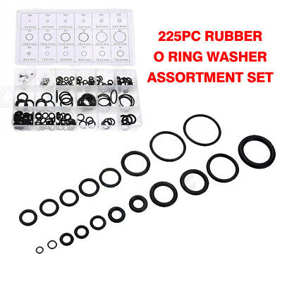 New 225PCS Rubber O Ring Washer Assortment Set Hydraulic Plumbing Gasket Seal