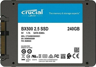 """Hard Disk Ssd 2,5"""" Stato Solido 240Gb Crucial Ct240Bx500Ssd1 Nuovo"""