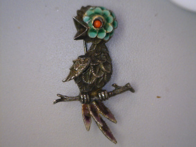 Sterling Silver Bird Brooch .925 Silver and Enamel on a Branch