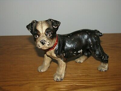 "CAST IRON HUBLEY BOSTON TERRIER PUPPY / 6"" Long"
