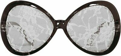 Black Party Glasses Lace white 50s 60s Shabby Chic Retro Vintage 50s Rockabilly