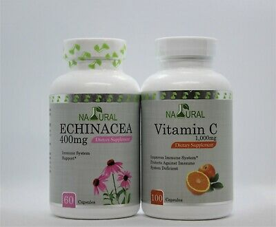 1 Vitamin C 1000 mg. 100 Capsules and 1 Echinacea,500mg.Immune System support
