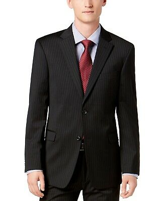 Tommy Hilfiger Mens Suit Black 42 Jacket Pinstriped Two Button Wool $165 #113