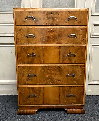 Art Deco Burr Walnut Chest Of Drawers, Bedroom, C1930, Fully Re Finished