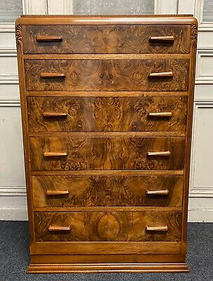 Burr Walnut Art Deco Chest Of Drawers, C1930, Fully Refinished, Bedroom