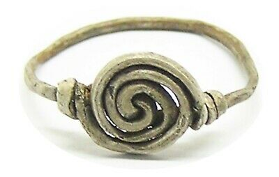 c. 6th - 9th century A.D. Anglo-Saxon period silver vortex spiral finger ring