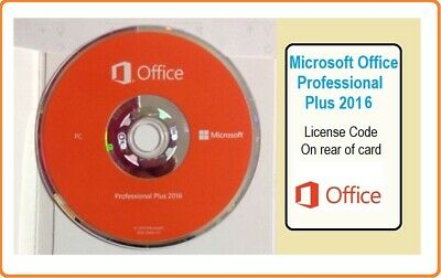 Brand New Microsoft Office Professional + 2016 License Card & DVD 32/64 Bit