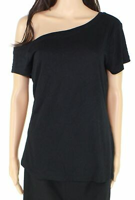 INC Womens Knit Top Black Size Small S One-Shoulder Asymmetrical Stretch $29 062