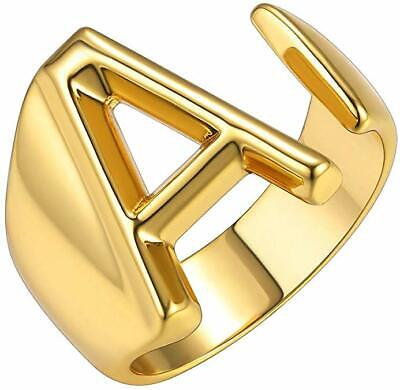 Personalized Rose,Gold,Silver Initial Letter A to Z Adjustable Open Signet Ring