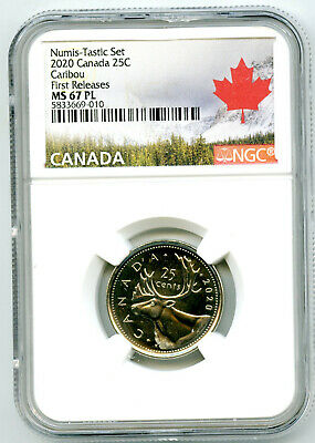 2020 Canada 25 Cent Ngc Ms67 Pl Numis-Tastic Uncirculated Quarter First Releases
