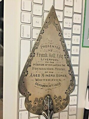 Antique colliery Presentation trowel, aged miners homes whitehaven 1925,