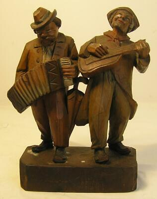Vintage Hand Carved Wood Statue-Figurine 2 Musicians-Guitar & Accordion-Unmarked