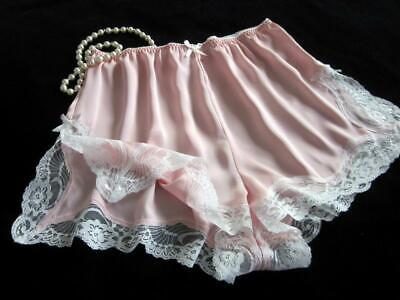 Womens French Knickers Panties Lacy Pink Satin M Silky Drapey Vintage Style NEW