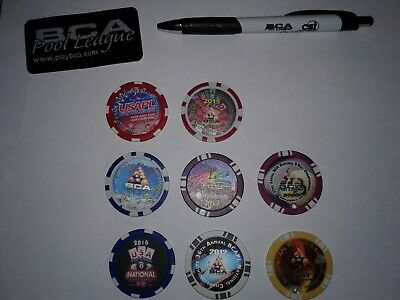 8 Rare Bca Las Vegas National Billiards Tournament Coins Plus Patch & Pen