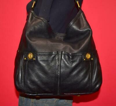 MARC BY MARC JACOBS TOTALLY TURNLOCK FARIDAH Black Leather Hobo Purse Bag