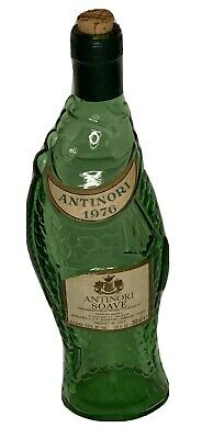 Vintage ANTINORI 1976 BIANCO ITALY Green FISH Glass Shaped Wine Bottle EMPTY 11""