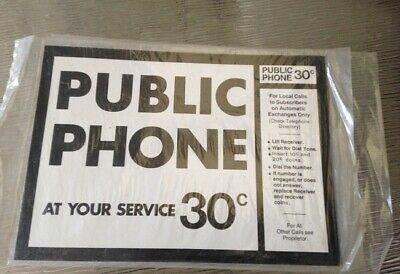 Original sign for a red phone, public phone pay phone ( telephone )