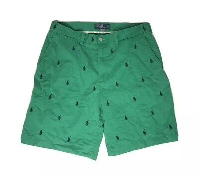 Vtg Polo Ralph Lauren Prospect Shorts Mens 34 Pony All Over Print Green Casual