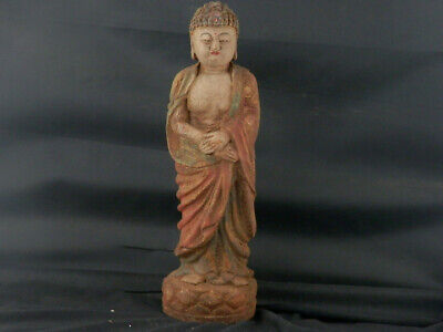 """11.9"""" Good Quality Large Chinese Old Wood Hand Carved *Buddha* Statue U001"""
