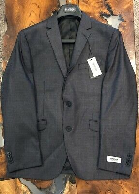 Reaction Kenneth Cole Mens Suit Gray Size 38S W31 The-Ready Flex 2 Piece
