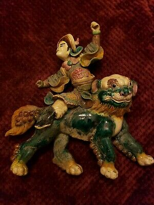 Antique 19Th Century Chinese Roof Tile Of A Warrior With Qi Lin .