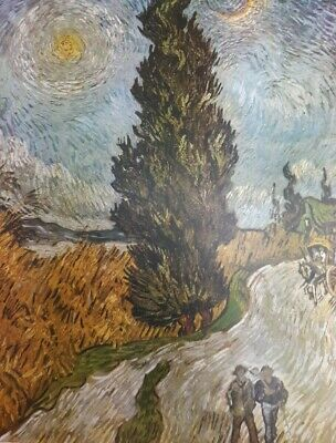 """Vintage 1952 full Color Art Plate """"Road with Cypresses""""  Van Gogh Abrams Litho"""