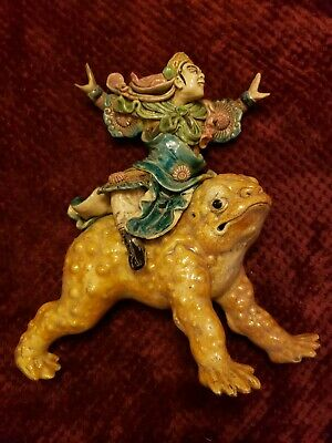 Antique 19Th Century Chinese Roof Tile Of A Warrior Riding Jin Chan.