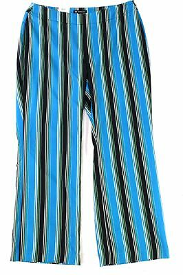 INC Women's Pants Blue Black Size 16W Plus Stretch Striped Wide Leg $89 #123