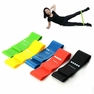 Set of 4 Resistance Exercise Loop Bands Home Gym Fitness Premium Natural Latex