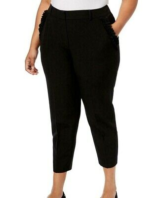 NY Collection Women's Black Size 2XP Plus Ruffle Dress Pants Stretch $59 #188