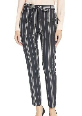 Vince Camuto Womens Pants Black Size 8 Dress Striped Belted Stretch $109 240