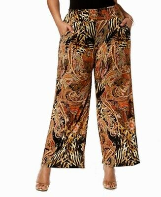 NY Collection Women's Pants Black Size 3XP Plus Paisley Print Stretch $59 #146