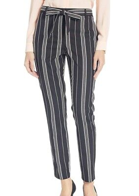 Vince Camuto Women Pants Black Size 6 Striped Ankle Slim Belted Stretch $109 291