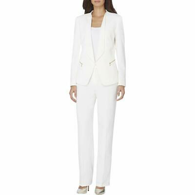 Tahari By ASL Womens Pant Suit Ivory White Size 18 Zip-Pocket Crepe $290 396
