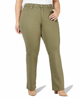 Levi's Womens Jeans Green Size 16W Plus Straight Mid-Rise Stretch $59 012