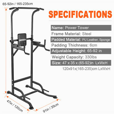 OneTwoFit Power Tower Dip Station Pull Up Home Body Fitness Exercise Gym OT084