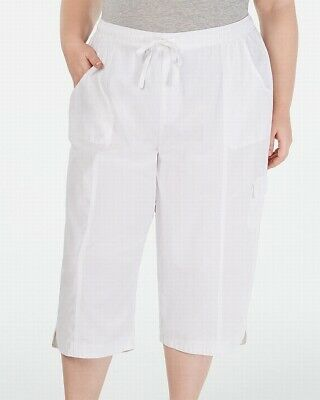 Karen Scott Women Edna Capri Pants White 1X Plus Cropped Drawstring Stretch 441