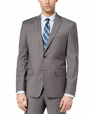DKNY Mens Blazer Solid Charcoal Gray Size 44 Long Two Button Wool $525 #175