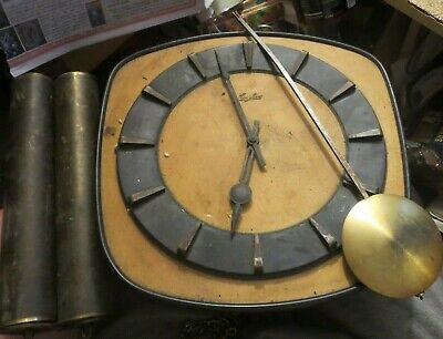 vintage mid century JUNGHANS W248 movement Pendulum Wall Clock Weight Driven