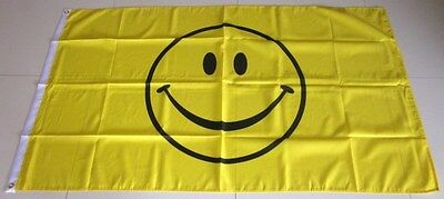 Yellow Smiley Face Flag Happy Smiley Festival Flag   AUSPOST REGISTERED TRACKING
